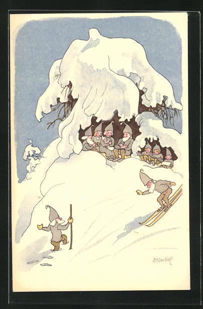 Künstler-AK Ernst Kreidolf: Pro Juventute, Hiver, Winter, Wichtel auf Skiern, Zwerge