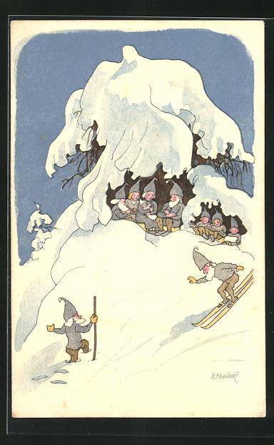 Künstler-AK Ernst Kreidolf: Pro Juventute, Hiver, Wichtel auf Skiern, Zwerge, Winter