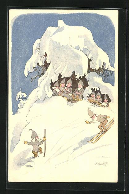 Künstler-AK Ernst Kreidolf: Pro Juventute, Hiver, Winter, Wichtel auf Skiern
