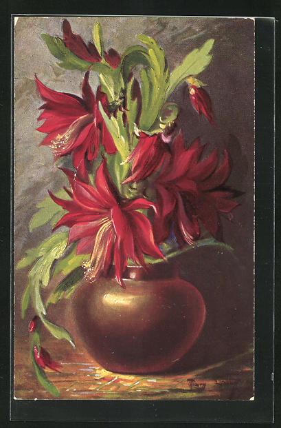 Künstler-AK Mary Golay: Blumenvase, Stilleben