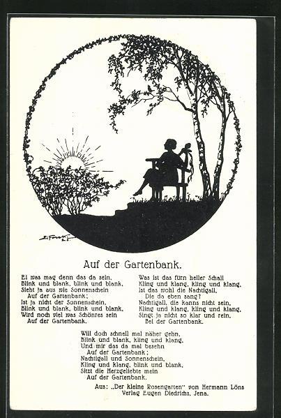 Künstler-AK Elsbeth Forck: Schattenbild, Auf der Gartenbank
