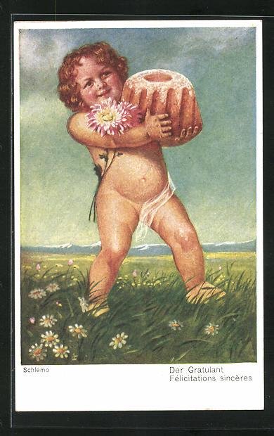 Künstler-AK Ernst Schlemo: Der Gratulant, Cupido mit Kuchen