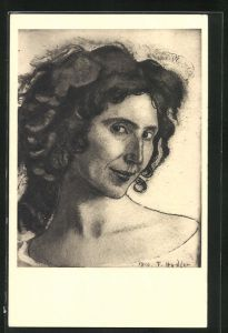 Künstler-AK Ferdinand Hodler: Italienerin, Frauenkopf