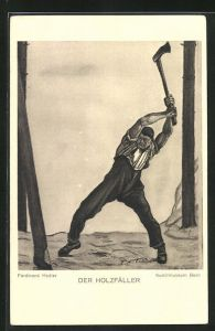 Künstler-AK Ferdinand Hodler: Der Holzfäller