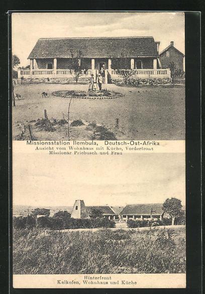 AK Ilembula, Missionsstation, Wohnhaus mit Küche, Kalkofen