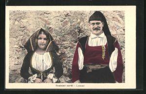 AK Lanusei, Costumi sardi, Sardisches Paar in Tracht