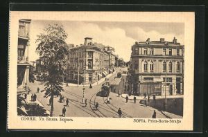 AK Sofia, Prinz-Boris-Strasse mit Strassenbahn