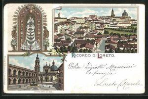 Lithographie Loreto, Ortsansicht, Chiesa della S. Casa