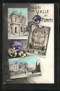 AK Valle di Pompei, Basilica Pontificia, Via Provinciale dal Santuario di Pompei