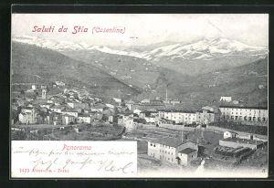 AK Stia, Panoramablick vom Berg