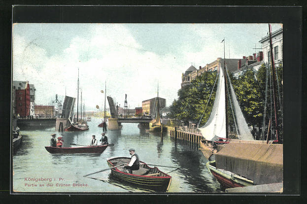 AK Königsberg, Partie an der Grünen Brücke