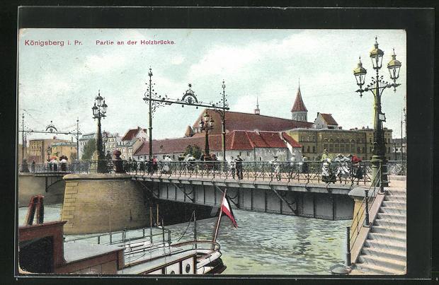 AK Königsberg, Partie an der Holzbrücke