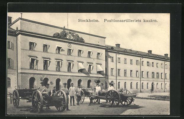 AK Stockholm, Positionsartilleriets kasärn, Kaserne und Kanonen