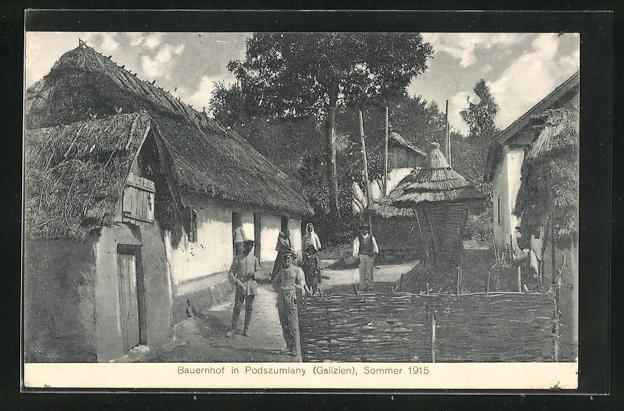 AK Podszumlany, alter Bauernhof um 1915