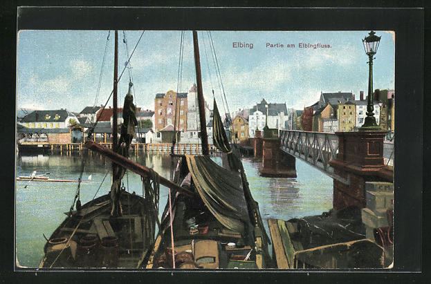AK Elbing / Elblag, Segelboote und Brücke am Elbingfluss