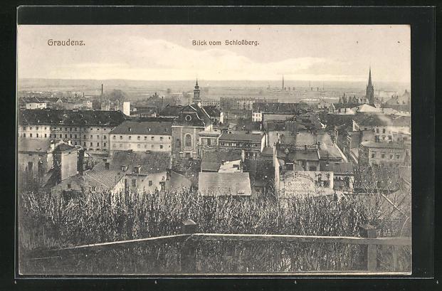 AK Graudenz / Grudziadz, Blick vom Schlossberg auf den Ort