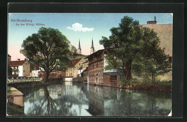 AK Bromberg / Bydgoszcz, Flusspartie an den Königl. Mühlen