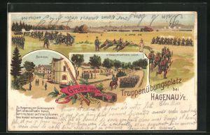 Lithographie Hagenau, Truppenübungsplatz-Baracken, Strasse im unteren Lager, Soldaten bei der Übung