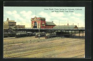 AK Omaha, NE, Union Pacific Trains leaving for Colorado, California and North Pacific Coast Points