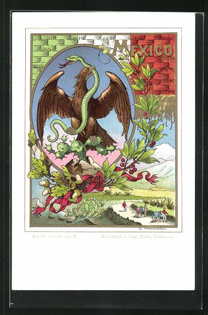 Lithographie Mexiko, Wappen und El Popocatepetl, Vulkan