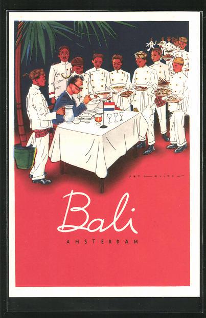 Künstler-AK Amsterdam, Indisch-Restaurant Bali
