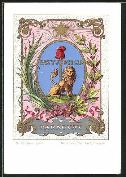 Lithographie Paraguay, Paz y Justicia, Wappen