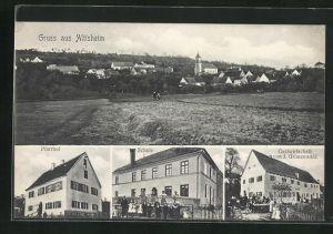 AK Altisheim, Gasthof von J. Grünenwald, Schule, Pfarrhof