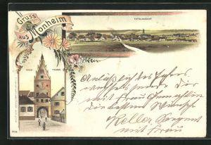 Lithographie Monheim, Ansicht vom Thor-Thurm, Totalansicht der Ortschaft