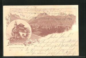 Lithographie Reichenhall, Villa Bergfried, Ortsansicht von Bergfried aus