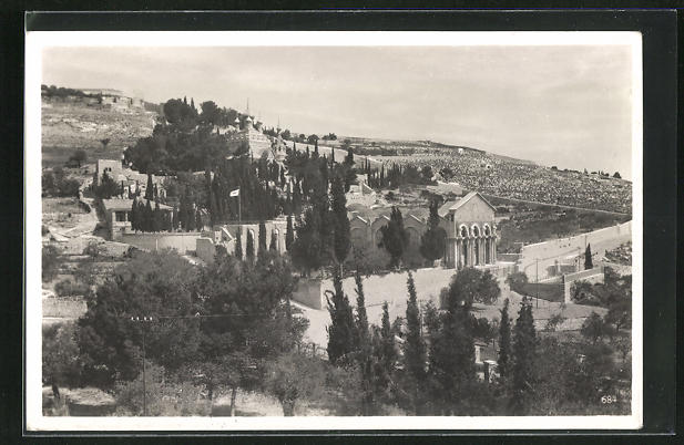 AK Jerusalem, Oelberg mit Garten Gethsemane