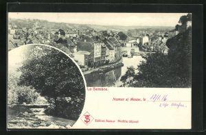 AK Namur s. Meuse, La Sambre, Ortsansicht