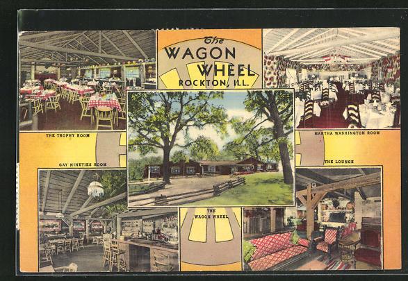 AK Rockton, IL, The wagon Wheel, fünf Ansichten