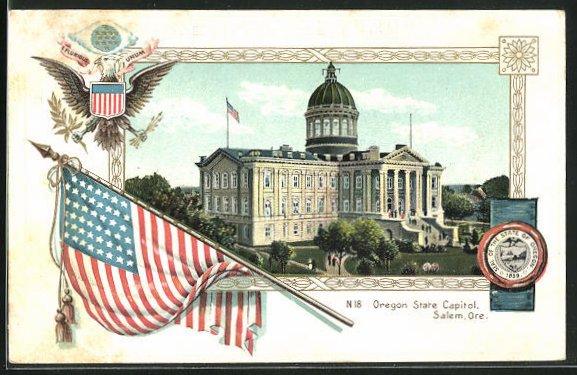 Präge-AK Salem, OR, Oregon State Capitol, amerikanische Flagge