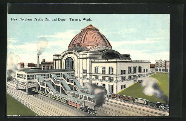 AK Tacoma, WA, New Northern Pacific Railroad Depot