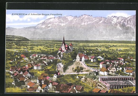 AK Rankweil, Gesamtansicht mit den schweizer Bergen