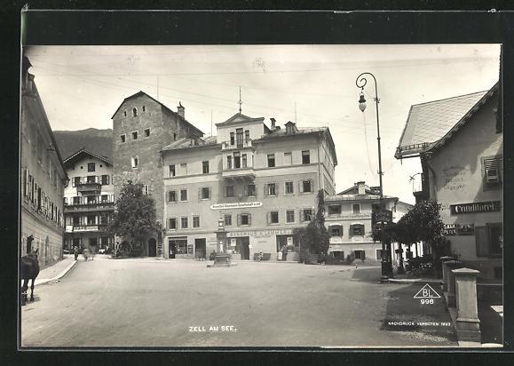AK Zell am See, Wetterstation am Bankhaus A. Lammer und Hotel