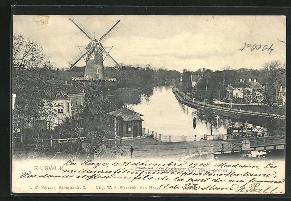 AK Rijswijk, Panorama aan de Hoornbrug, Windmühle