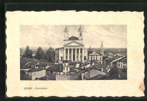 Passepartout-AK Schio, Panorama mit Kirche