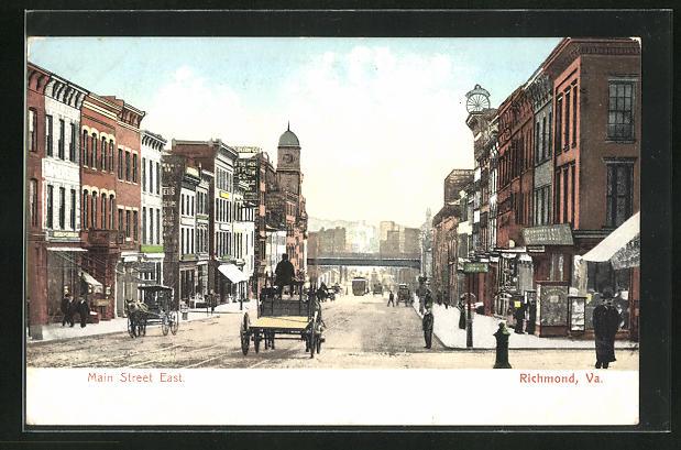 AK Rochmond, VA, Main Street East, Strassenpartie mit Geschäften