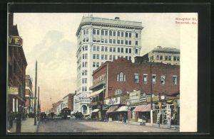 AK Savannah, GA, Broughton Street, Strassenpartie mit Strassenbahn
