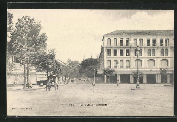 AK Saigon, Rue Cotinot, Ortspartie, Pferdekutsche