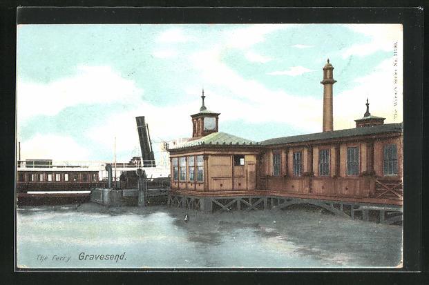 AK Gravesend, The ferry, Hafenpartie mit Fähre