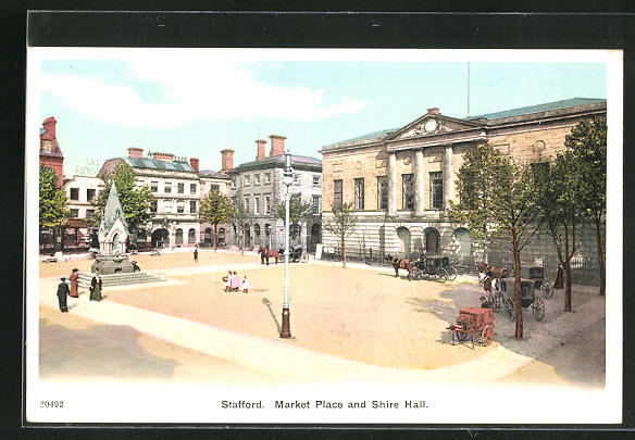 AK Stafford, Market place and Shire Hall, Platzansicht