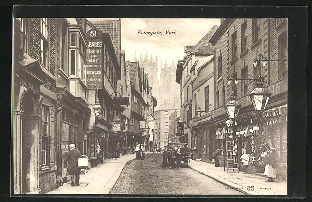 AK York, Petergate, Strassenansicht mit Geschäften