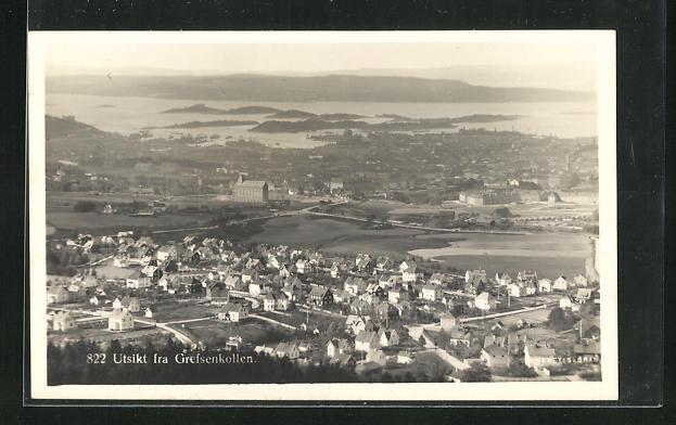 AK Oslo, Utsikt fra Grefsenkollen, Gesamtansicht aus der Vogelschau