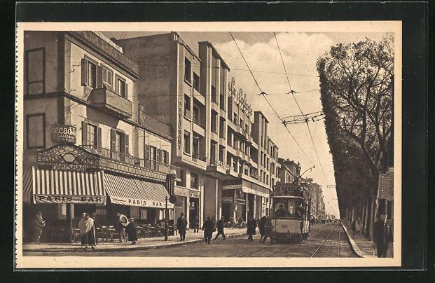 AK Tunis, Avenue Jules-Ferry, Strassenpartie mit Strassenbahn