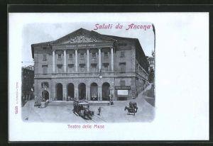 AK Ancona, Teatro delle Muse, Pferdekutsche