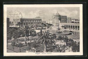 AK Foggia, Plazza Cavour, Platzansicht mit Springbrunnen