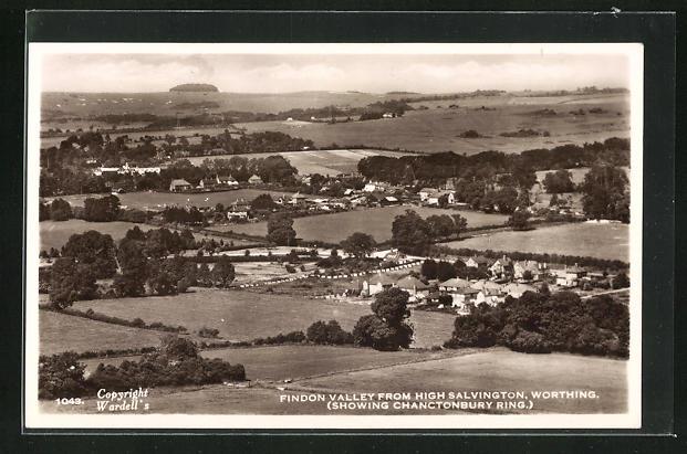 AK Worthing, Findon Valley fron High Salvington, Showing Chanctonbury Ring