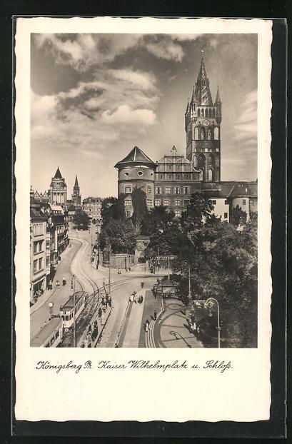 AK Königsberg, Kaiser Wilhelmplatz & Schloss, Strassenbahn